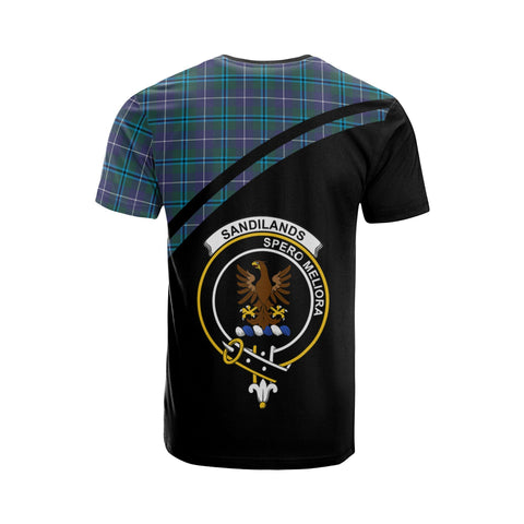 Tartan Shirt - Sandilands Clan Tartan Plaid T-Shirt Curve Version Back