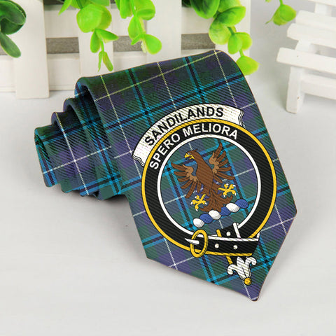 Sandilands Tartan Tie with Clan Crest TH8