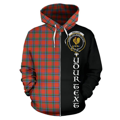 Custom Hoodie - Clan Sinclair Ancient Plaid Tartan Zip Up Hoodie Design Your Own - Half Of Me Style - Unisex Sizing