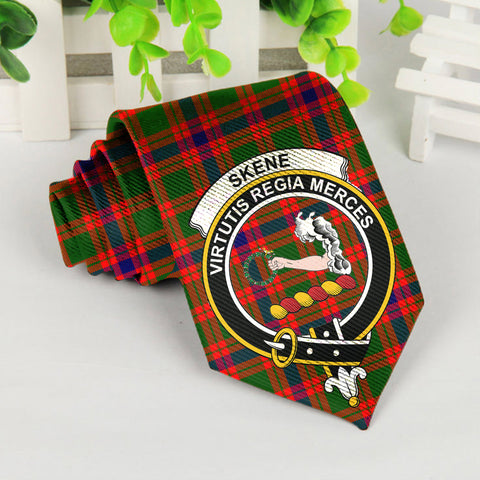 Image of Skene Tartan Tie with Clan Crest TH8