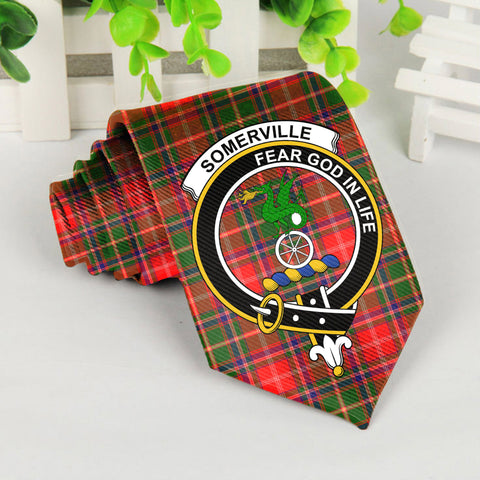 Image of Somerville Tartan Tie with Clan Crest TH8