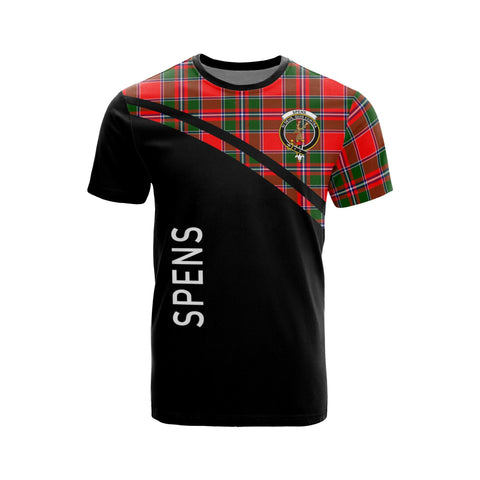 Tartan Shirt - Spens (or Spence) Clan Tartan Plaid T-Shirt Curve Version Front