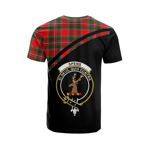 Tartan Shirt - Spens (or Spence) Clan Tartan Plaid T-Shirt Curve Version Back