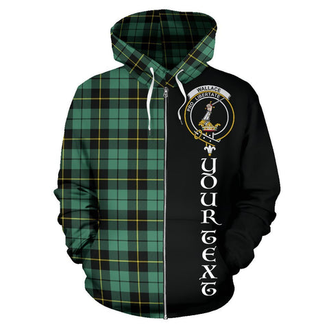 Custom Hoodie - Clan Wallace Hunting Ancient Plaid Tartan Zip Up Hoodie Design Your Own - Half Of Me Style - Unisex Sizing
