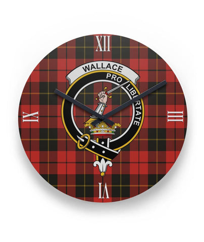 "Wallace Weathered Tartan Wall Clock Clan Badge (11"" Round)"