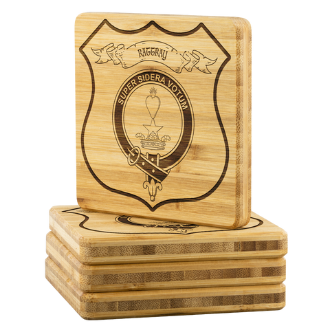 Tartan Bamboo Coaster - Rattray Wood Coaster With Clan Crest K7