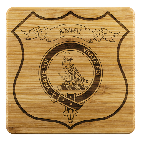 Tartan Bamboo Coaster - Boswell Wood Coaster With Clan Crest K7