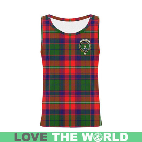Charteris District Tartan Clan Badge All Over Print Tank Top Nl25 Xs / Men Tops