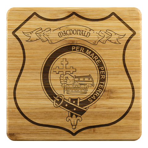 Tartan Bamboo Coaster - MacDonald Wood Coaster With Clan Crest K7