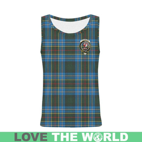 Cockburn Modern Tartan Clan Badge All Over Print Tank Top Nl25 Xs / Men Tops