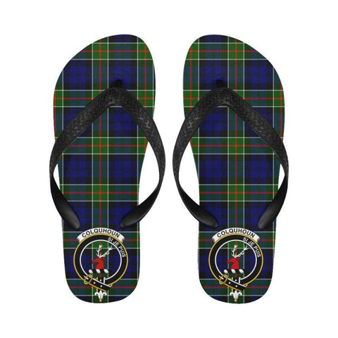 Colquhoun Modern Tartan Clan Badge Flip Flops For Men/women W7 Unisex
