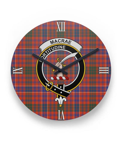 "Macrae Ancient Tartan Wall Clock Clan Badge (11"" Round)"