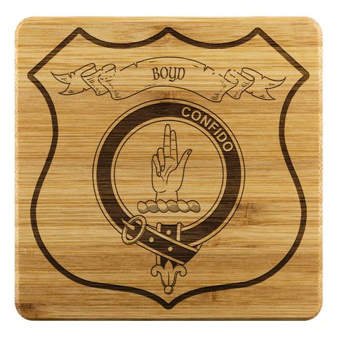 Image of Tartan Bamboo Coaster - Boyd Wood Coaster With Clan Crest K7