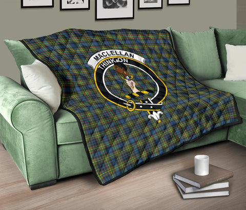 Image of Premium Quilt - MacLellan Ancient Tartan Quilt - Clan Crest TH8