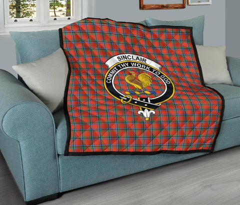 Premium Quilt - Sinclair Ancient Tartan Quilt - Clan Crest TH8