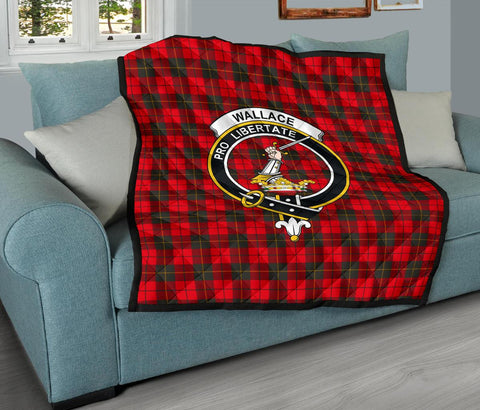 Image of Premium Quilt - Wallace Weathered Tartan Quilt - Clan Crest TH8