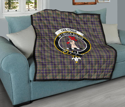 Image of Premium Quilt - Taylor Weathered Tartan Quilt - Clan Crest TH8