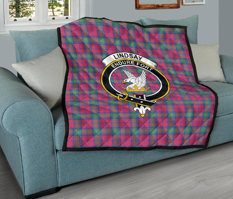 Premium Quilt - Lindsay Ancient Tartan Quilt - Clan Crest TH8