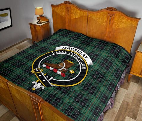 Premium Quilt - MacAulay Hunting Ancient Tartan Quilt - Clan Crest TH8