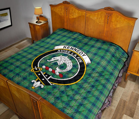 Premium Quilt - Kennedy Ancient Tartan Quilt - Clan Crest TH8