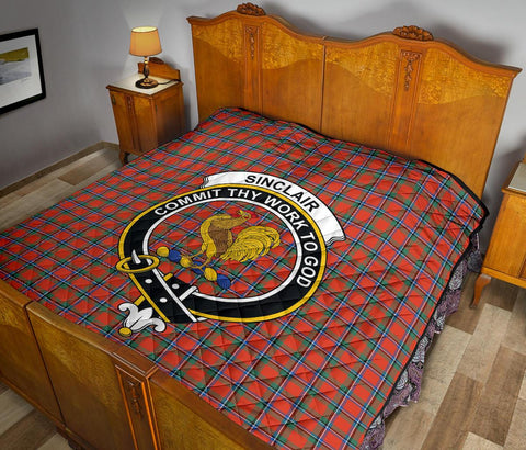 Image of Premium Quilt - Sinclair Ancient Tartan Quilt - Clan Crest TH8