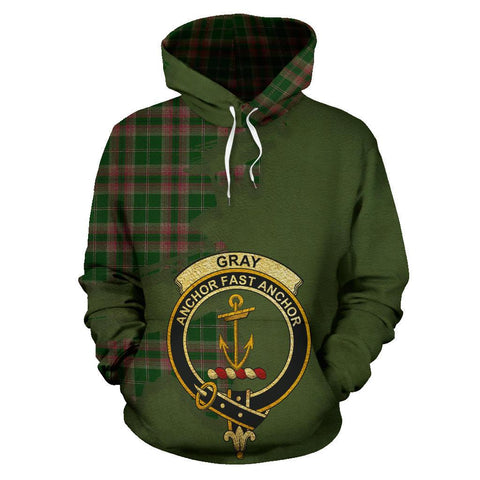 Tartan Hoodie - Clan Gray Hunting Crest & Plaid Hoodie - Scottish Lion & Map - Royal Style