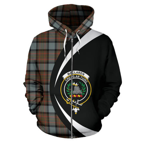 Tartan Zip Up Hoodie - Clan Maclaren Weathered Zip Up Hoodie - Circle Style Unisex