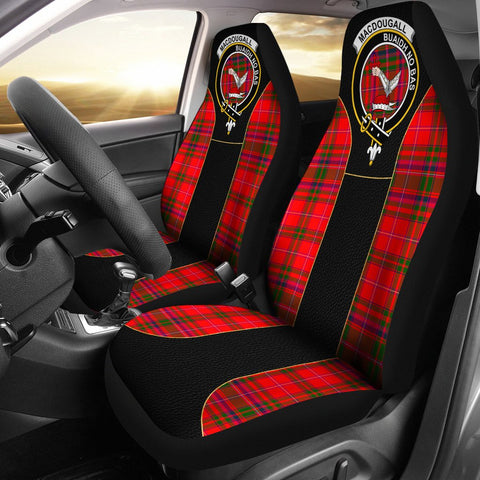 Macdougall Tartan Car Seat Cover Clan Badge - Special Version