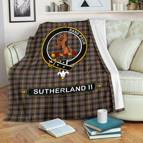 Sutherland II Crest Tartan Blanket | Tartan Home Decor | ScottishShop