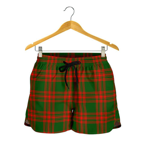 Menzies Green Modern Tartan Shorts For Women