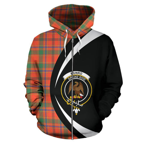 Custom Hoodie - Clan Munro Ancient Plaid Tartan Zip Up Hoodie Design Your Own - Circle Style - Unisex Sizing