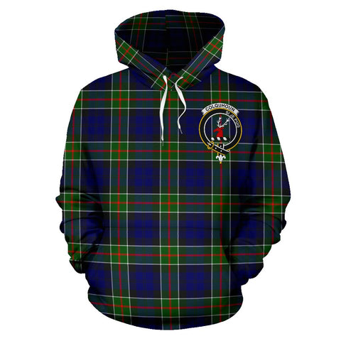 Tartan Clan Colquhoun Plaid Hoodie With Crest