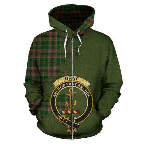 Tartan Hoodie - Clan Gray Hunting Crest & Plaid Zip-Up Hoodie - Scottish Lion & Map - Royal Style