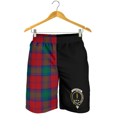 Image of Tartan Mens Shorts - Clan Auchinleck Crest & Plaid Shorts - Half Of Me Style