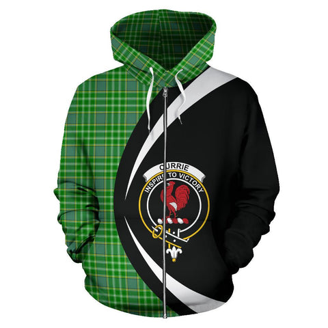 Tartan Zip Up Hoodie - Clan Currie Zip Up Hoodie - Circle Style Unisex