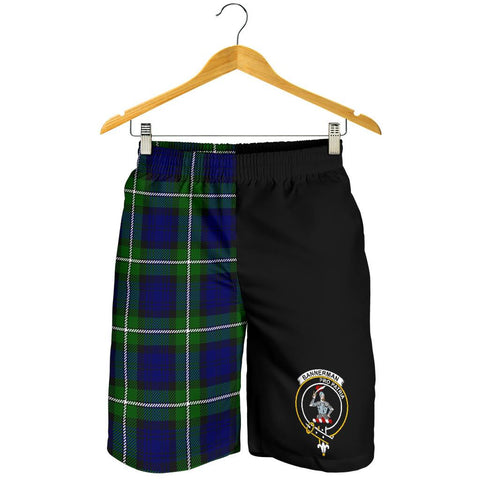Image of Tartan Mens Shorts - Clan Bannerman Crest & Plaid Shorts - Half Of Me Style