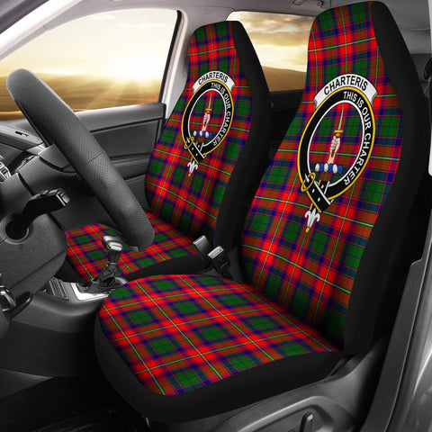 ScottishShop Seat Cover - Tartan Crest Charteris Car Seat Cover Clan Badge - Universal Fit
