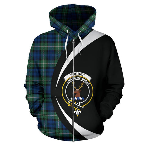 Image of Tartan Zip Up Hoodie - Clan Forbes Ancient Zip Up Hoodie - Circle Style Unisex