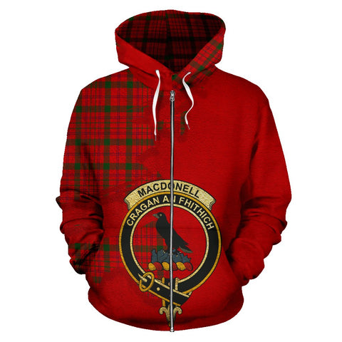 Tartan Hoodie - Clan MacDonnell of Keppoch Modern Crest & Plaid Zip-Up Hoodie - Scottish Lion & Map - Royal Style