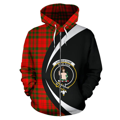 Tartan Zip Up Hoodie - Clan Livingstone Modern Zip Up Hoodie - Circle Style Unisex