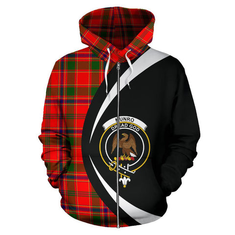 Image of Tartan Zip Up Hoodie - Clan Munro Modern Zip Up Hoodie - Circle Style Unisex