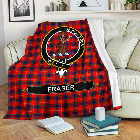 Image of Fraser (of Lovat) Crest Tartan Blanket | Tartan Home Decor | ScottishShop