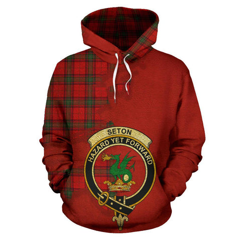 Tartan Hoodie - Clan Seton Modern Crest & Plaid Hoodie - Scottish Lion & Map - Royal Style