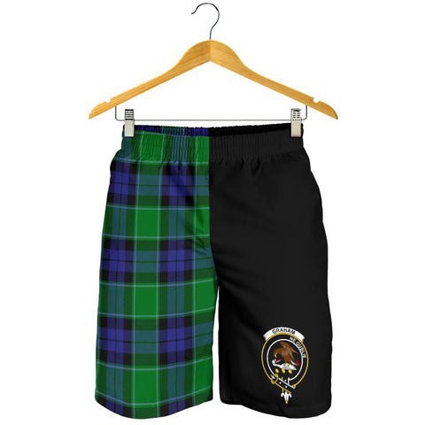 Image of Tartan Mens Shorts - Clan Graham of Menteith Modern Crest & Plaid Shorts - Half Of Me Style