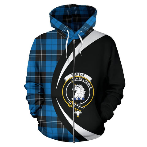 Image of ScottishShop Tartan Zip Up Hoodie - Clan Ramsay Blue Ancient Hoodie - Circle Style