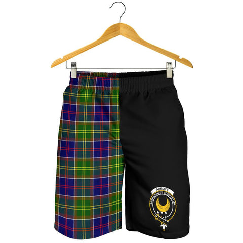 Image of Tartan Mens Shorts - Clan Arnott Crest & Plaid Shorts - Half Of Me Style