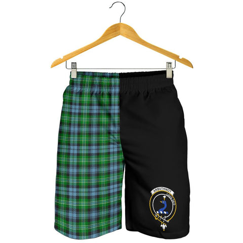 Image of Tartan Mens Shorts - Clan Arbuthnott Crest & Plaid Shorts - Half Of Me Style