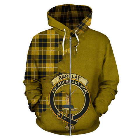 Tartan Hoodie - Clan Barclay Dress Modern Crest & Plaid Zip-Up Hoodie - Scottish Lion & Map - Royal Style