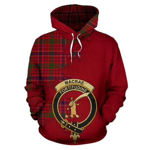 Tartan Hoodie - Clan MacRae Modern Crest & Plaid Hoodie - Scottish Lion & Map - Royal Style