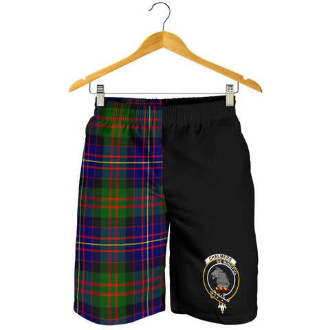 Tartan Mens Shorts - Clan Chalmers Crest & Plaid Shorts - Half Of Me Style